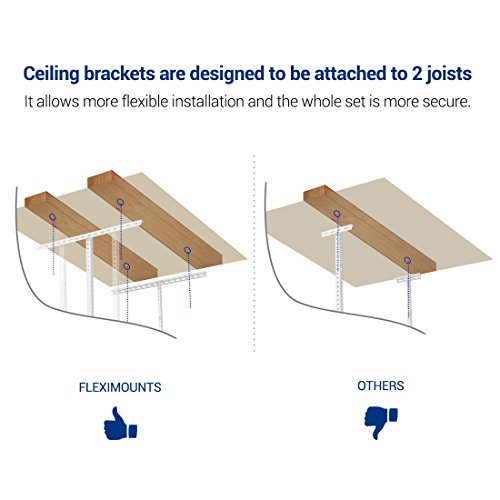 FLEXIMOUNTS 4x6 Heavy Duty Overhead Garage Adjustable Ceiling Storage Rack, 72'' Length x 48'' Width x 40'' Height, White by FLEXIMOUNTS (Image #4)
