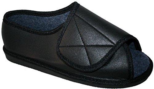 Fitting Pu Velcro Toe Memory Slippers Or Insole Mens Open Very Foam Black Ladies Wide AOYXIw
