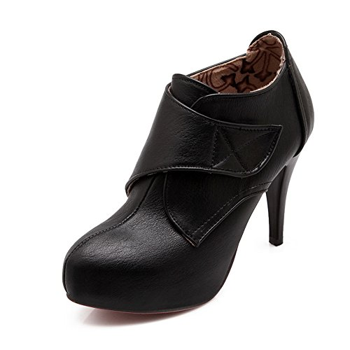 BalaMasa Ladies Ring Velcro Thread Kitten-Heels Imitated Leather Pumps-Shoes Black B4vMcw