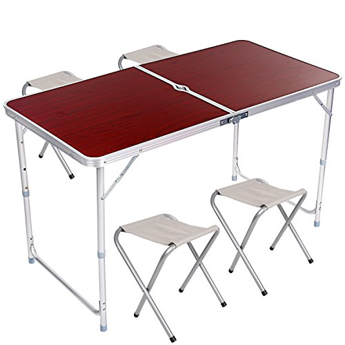 (Hindom Folding Picnic Table, Adjustable Aluminum Camping Table with 4 Folding Stools Chairs and Parasol Hole(US Stock))