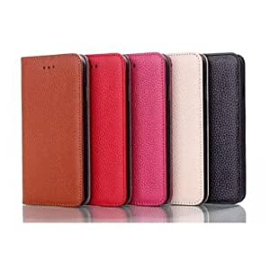 LCJ 5.5 Inch Cowhide Leather Wallet Leather Case for iPhone 6 Plus (Assorted Colors) , Brown