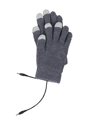 Price comparison product image ObboMed® MH-1005G Touchscreen USB 5V 6W Carbon Fiber Heated Warming Full Finger Gloves – Power by Power Bank, PC, Computer, adapter– use on cell phone, iPad, iPhone, Note, Smartphone, Tablets – Gray