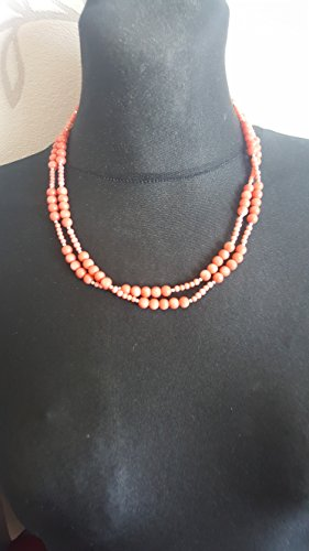 Gorgeous Pink Salmon Coral Round Beads Necklace 925 Sterling Silver