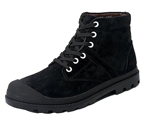 TDA Mens Fashion Warm High Top Leather Casual Martin Boots Black j9K1V