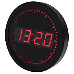 Big Digital LED Clock with Circling LED Second Indicator | Round Shape, 24 Hour Format - Military Time - (10 / Red LED) eHealthSource