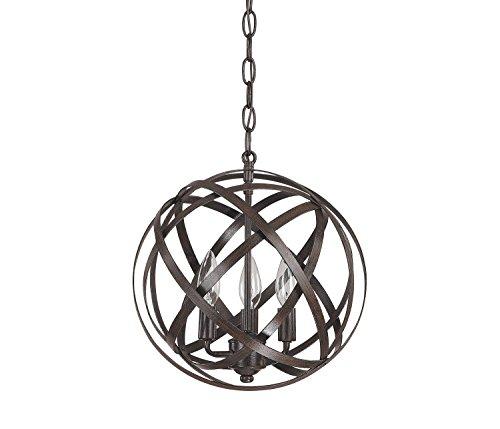 Twelve Light Ring Chandelier (Diamond Life Pivoting Interlocking Rings Sphere 3-Light Pendant Chandelier, Antique Bronze Finish)