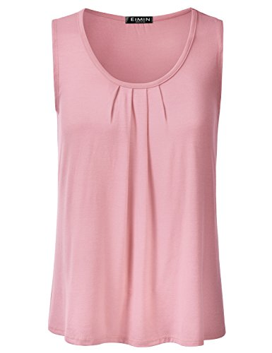 7af3b3a93fe069 EIMIN Women's Pleated Scoop Neck Sleeveless Loose Fit Basic Soft Tank Top  Dustypink L