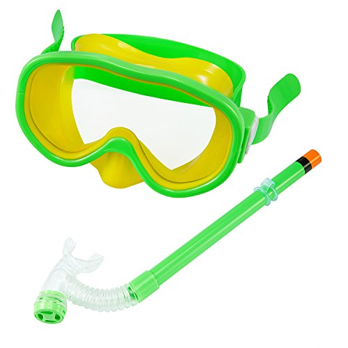 Kids/Children Snorkel Set, Swimming Goggles Semi-Dry Snorkel Equipment for Boys and Girls Junior Snorkeling Gear Age 5 Plus (Green)