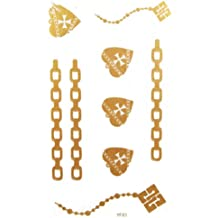 SPESTYLE waterproof non-toxic temporary tattoo stickerslatest new design waterproof heart jewelry gold temporary tattoos for necklaces bracelets anklets