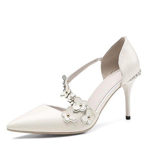 Zapatos Finos Cuero De Diamante De Y Flores Verano Baotou alto Boda Para Mujer Zapatos Puntiagudas OtoñO White TacóN Finas Con Sandalias De RgrqwU8cR