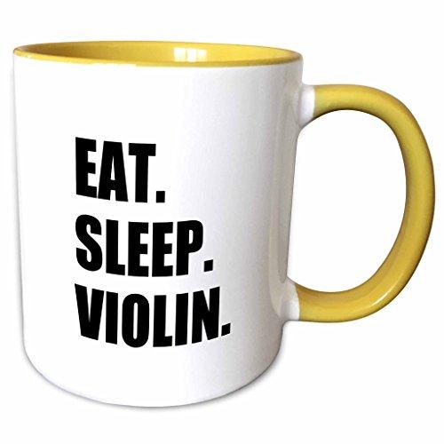 3dRose InspirationzStore Eat Sleep series - Eat Sleep Violin - black text - music musician fun orchestra practice - 11oz Two-Tone Yellow Mug (mug_180455_8) ()
