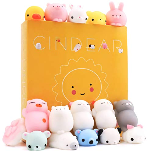 CINDEAR Animal Squishies Toys, 16 Pcs Gift Box Packing Mochi Mini Kawaii Squishy Set Squeeze Sensory Fidget Toy Slow Rising Squishies Cute Cat Anxiety Stress Relief Toys for Kids 6 Year Old Up/Adult ()