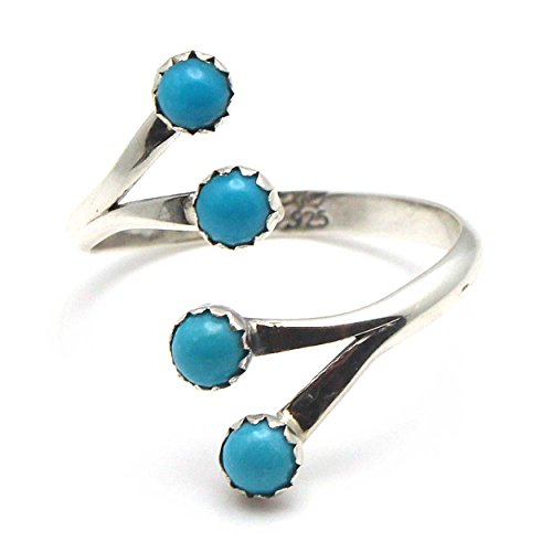 Four Stone Adjustable Silver & Turquoise RIng by Belin (Navajo Adjustable Ring)