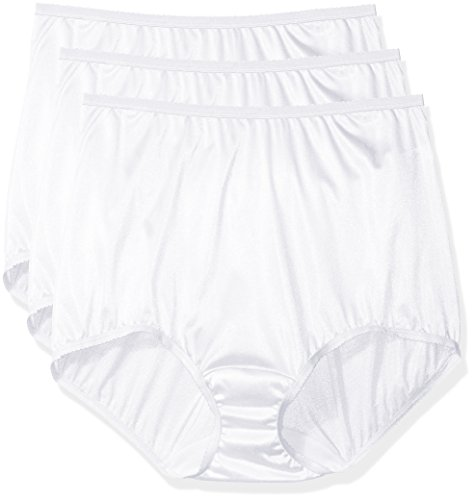 Shadowline Women's Plus-Size Panties-Nylon Brief (3 Pack), White, 8 ()