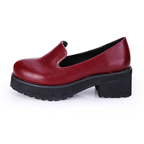 Femme Faux Cuir Bout Rond-bas Bas Chunky Sneaker 128 Rouge Eu 36 - Us 6