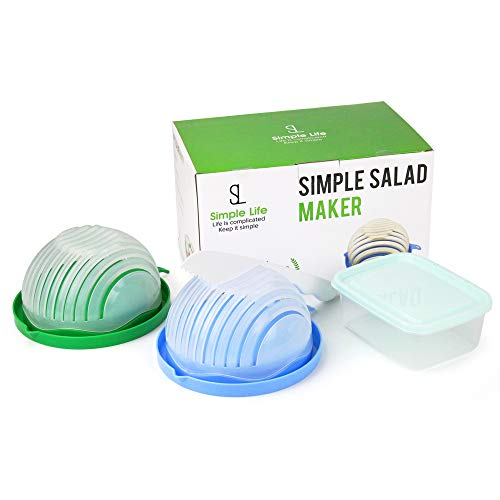 SIMPLE SALAD MAKER | Salad Chopper Bowl | Salad Cutter Bowl Set by SL Simple Life | Make Veggie or Fruit Salad Easily | Plastic Knife Included for Easy Slicing