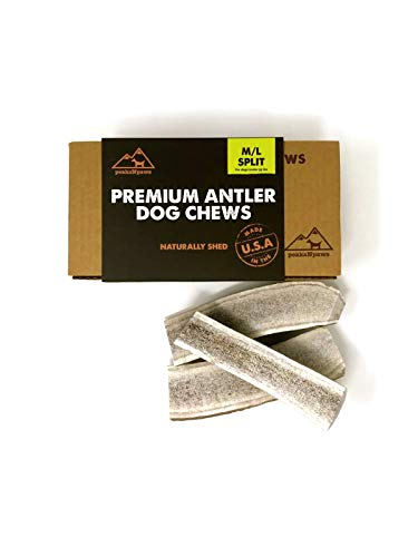 peaksNpaws Premium All-Natural Grade A Split Elk Antlers for Dogs - Naturally Shed in The Rocky Mountains - No Additives, No Preservatives - Healthy and Delicious Treat - Made in USA ... ()
