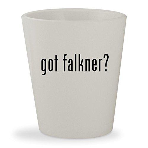got falkner? - White Ceramic 1.5oz Shot Glass
