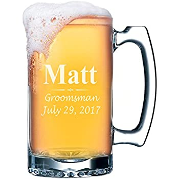 custom beer mugs engraved groomsmen beer glasses gifts 25oz 3 lines design