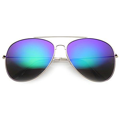 zeroUV - Class Large Retro Metal Mirror Lenses Aviator Sunglasses (Gold - Classes Retro