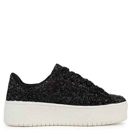 Fashion Kaykay Glitter Platform ROBBIN Shiny Sneaker 1 CAPE Black Woman's fZ0XH