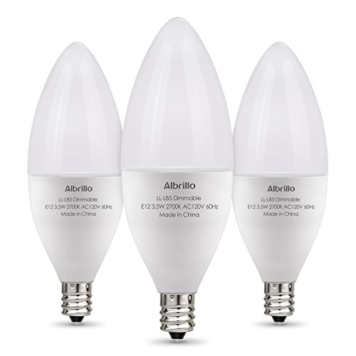 Albrillo E12 Bulb Dimmable LED Light Bulbs, 40 Watt Incandescent Equivalent, Warm White 2700K, 3 Pack