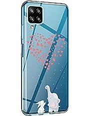 Hoesje Samsung Galaxy A12 Hoezen TPU Siliconen Doorzichtig Zacht Geval Tekenfilm Dieren Panda Schattige Olifant Motief Hoes Ultralicht Anti Schok Achterkant voor Galaxy A12