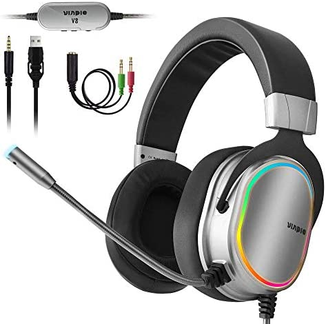 Pro Gaming Headset for PS4, Xbox One Controller, PC, 3.5mm Surround Stereo Gaming Headphones with Noise Cancelling Microphone, LED Lights & Soft Memory Earmuffs for Laptop Mac Nintendo Switch