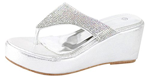 Cambridge Select Women's Crystal Rhinestone Thong Flip-Flop Slip-On Platform Wedge Sandal (9 B(M) US, Silver)