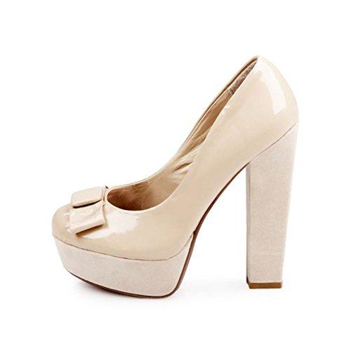 Patente Desnuda - arco alto bloque zapatos de la corte del talón delanteros Beige
