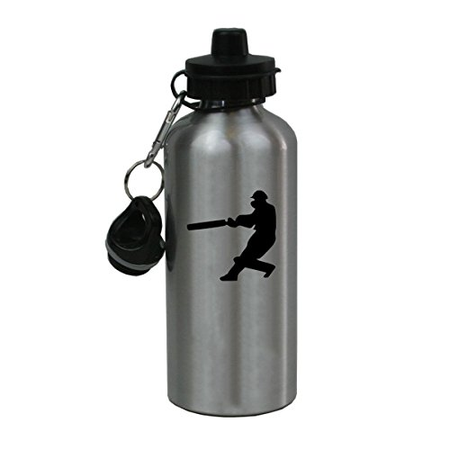 Personalized Custom Hitting Cricket Player Aluminum Silver Finish 20 Ounce Water Bottle Customizable by CustomGiftsNow