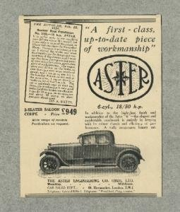 - 1924 ASTER 18/50 HP 2-SEATER SALOON COUPE NON-COLOR AD - VINTAGE ORIGINAL - BRITISH