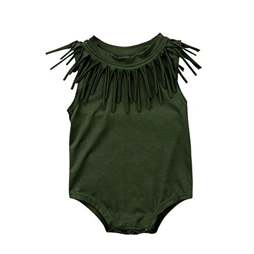 Cute Infant Baby Girl Sleeveless Tassel Romper Bodysuit Summer Outfit Clothes (Green, 6-12 Months)