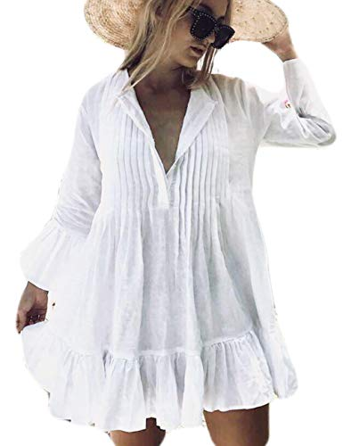 - Bsubseach White Long Sleeve Beach Tunic Shirt Cover Up Dress Loose Swimsuit Bathing Suit Cover Ups for Women