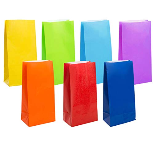 KEYYOOMY Small Bright Color Paper Bags Rainbow Party Goody Bags for Wedding Baby Shower Kid's Birthday Party (Rainbow, 49 CT, 3.1 X 5.1 X 9.4 in) ()