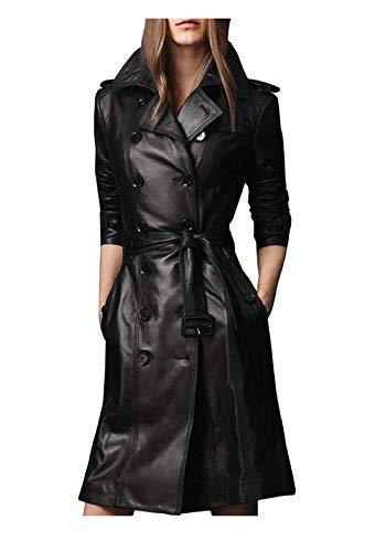 Women Designer Black Trench Leather Long Coat with Belt Trench Coat Slim Fit Style for Ladies (Medium)