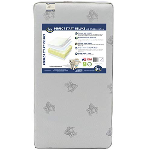 Serta Perfect Start Deluxe Fiber Core/Foam Crib and Toddler Mattress | Waterproof | GREENGUARD Gold Certified (Natural/Non-Toxic)