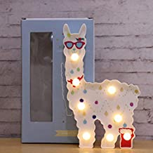 New LED Painted Alpaca Night Light, Llama Marquee Signs, Light Up Vicuna, Battery Operated Warm Light Home Decor for Pregnant Woman, Kids, Baby Shower, Nursery, Living Room (White with red Glasses)