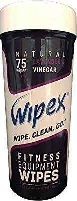 Wipex Natural Gym & Fitness Equipment Wipes for Personal Use, 75 Count - Great for Yoga, Pilates & Dance Studios, Home Gym, Peloton Bike Wipes, Spas, Tanning Salons and more