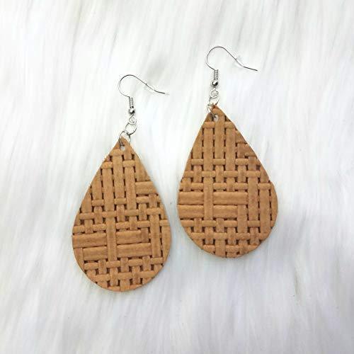 (Honey Basketweave Leather Drop Earrings )