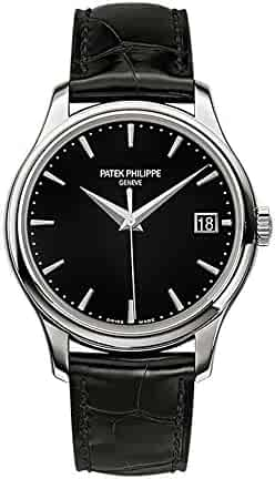Patek Philippe Calatrava 39mm White Gold Watch Black Leather Strap