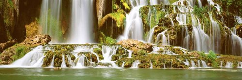 Walls 360 Peel & Stick Wall Murals: Tributary Waterfall Snake River ID (84 in x 28 in)