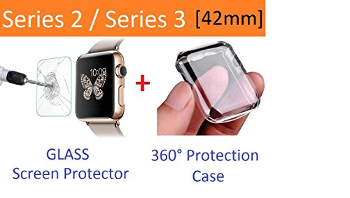 Apple Watch Case Series 2 and Series 3 42mm, Ezone Tempered Glass Screen Protector for Apple Watch Series 2 / Series 3 and Ultra-thin Clear HD Case