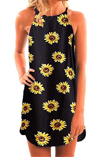 Fronage Women's Casual Sleeveless Floral Mini Dress Summer Beach Halter Neck Dresses (Small, Sun F)