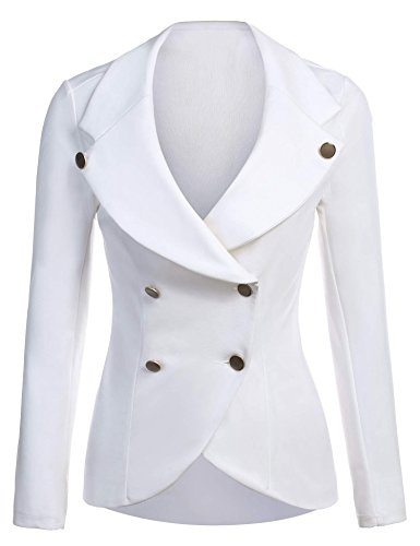 Button Single Collar Blazer (ELESOL Womens Casual Lightweight 3/4 Sleeve Fitted Single Button Blazer White/XL)