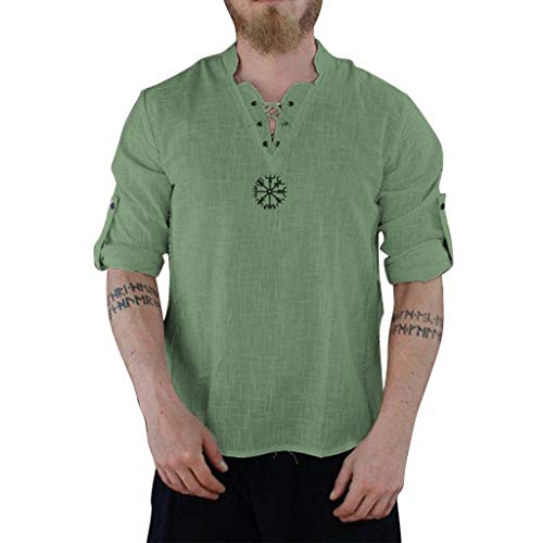 Mens Fashion Personality T Shirt Cotton Linen Tee Hippie Shirts Summer Long Sve Loose Beach Top Blouse Green