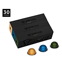 BEST SELLER ASSORTMENT   Includes 30 capsules. Explore the rich tastes of our best-selling coffees for the VertuoLine system.Nespresso VertuoLine uses revolutionary technology to extract every aroma, rich flavor, and our signature crema atop ...