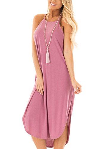 Dinner Womens Light - Jug&Po Women's Summer Casual Sleeveless Maxi Dress with Rounded Hem(Light Plum Medium)