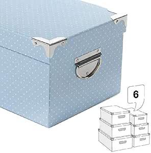 Dropex Juego 6 Cantoneras Cajas Almacenaje de Adornos Festivos Artículos para el hogar Unisex Adulto, Azul (Azul Topos), única: Amazon.es: Hogar