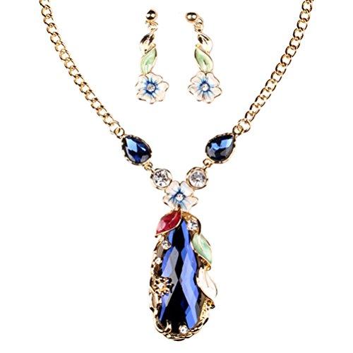 SunIfSnow Women Fashion Y-Shape Diamond Twisted Snake Chain Necklace blue (Zodiac Pebble)